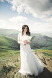 Beauty woman, bride with perfect white dress posing on the rock background mountains Stock Image
