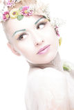 Beauty woman with bright floral make up Royalty Free Stock Photos