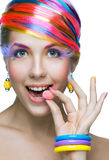 Beauty woman with bright makeup Stock Photos