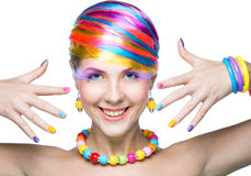 Beauty woman with bright makeup Royalty Free Stock Images