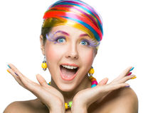 Beauty woman with bright makeup Stock Images