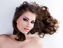 Beauty  woman with  brown hairs Stock Photos