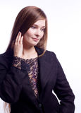 Beauty woman in business suit with lace Stock Photography