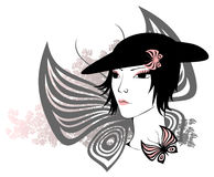 Beauty woman and butterflies Royalty Free Stock Images
