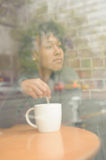 Beauty woman in cafe Stock Photo