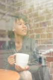 Beauty woman in cafe Royalty Free Stock Photos