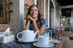 Beauty woman in cafe Stock Photos