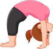 Beauty woman cartoon exercing yoga sport sitting with look up Stock Image