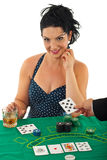 Beauty woman in casino Royalty Free Stock Image