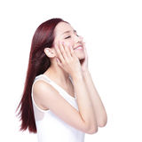 Beauty woman with charming smile. Beauty woman charming smile and relax closed eye enjoy with health skin, teeth and hair isolated on white background, asian Stock Photography