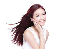 Beauty woman with charming smile. To you with health skin, teeth and hair isolated on white background, asian beauty Royalty Free Stock Images