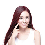 Beauty woman with charming smile. To you with health skin, teeth and hair isolated on white background, asian beauty Stock Images