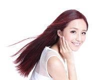Beauty woman with charming smile. To you with health skin, teeth and hair isolated on white background, asian beauty Royalty Free Stock Photography