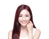 Beauty woman with charming smile. To you with health skin, teeth and hair isolated on white background, asian beauty Stock Photo