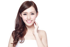 Beauty woman with charming smile. To you with health skin, teeth and hair isolated on white background, asian beauty Stock Photography