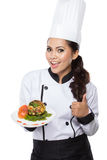 Beauty woman Chef presenting Royalty Free Stock Image
