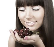 Beauty woman with  cherries on white Royalty Free Stock Images