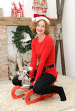 Beauty woman at christmas decoration Stock Images