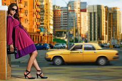 Beauty woman in the city Stock Photos