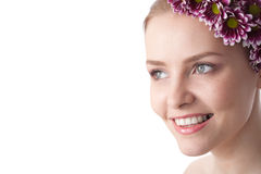 Beauty woman close-up face with flower Stock Images