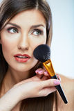 Beauty woman close up face make up portrait. Long hair. Stock Photos