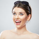 Beauty woman close up face portrait, toothy smiling Royalty Free Stock Photos