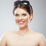 Beauty woman close up face portrait, toothy smilin Stock Photos