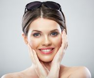 Beauty woman close up face portrait, toothy smiling Royalty Free Stock Photography