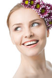 Beauty woman closeup face with flowers Royalty Free Stock Photos