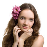 Beauty woman closeup portrait with flower isolated Stock Images