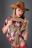 Beauty woman in cowboy hat Royalty Free Stock Photography