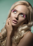 Beauty woman with creative make-up Stock Images