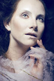 Beauty woman with creative make up like cocoon Royalty Free Stock Photography