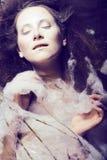 Beauty woman with creative make up like cocoon, halloween celebr. Ation creepy web Royalty Free Stock Photography