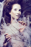 Beauty woman with creative make up like cocoon, halloween celebr Royalty Free Stock Images