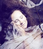 Beauty woman with creative make up like cocoon, scary halloween. Celebration Royalty Free Stock Image