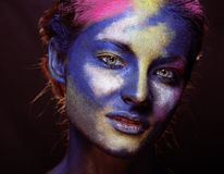 Beauty woman with creative make up like Holy celebration in India. Close up Royalty Free Stock Photo