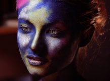 Beauty woman with creative make up like Holy celebration in India. Close up Stock Photos