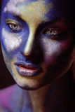 Beauty woman with creative make up like Holy celebration in India. Close up Stock Photo