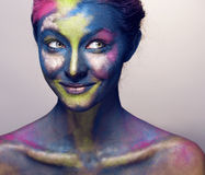 Beauty woman with creative make up like Holy celebration in India Royalty Free Stock Photography