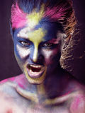 Beauty woman with creative make up like Holy celebration in India Stock Photography
