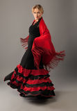 Beauty woman dance flamenco in black and red Royalty Free Stock Photo