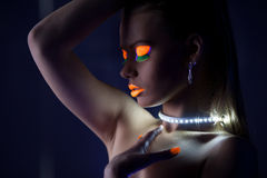 Free Beauty Woman Dance With Glow Make-up Royalty Free Stock Images - 26872869