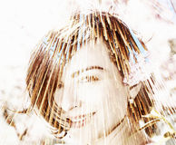 Beauty woman, double exposure effect Royalty Free Stock Image