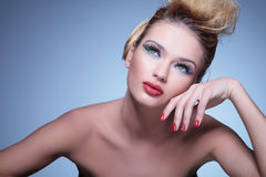 Beauty woman is dreaming away Royalty Free Stock Photos