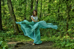 Beauty woman with dress flying Stock Image