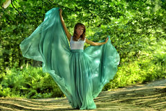 Beauty woman with dress flying Stock Photos