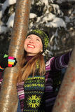 Beauty woman embraces rowanberry at winter Stock Photo