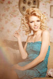 Beauty woman. Face of a beautiful smiling blondy girl Stock Photography