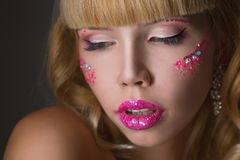 Beauty woman face with big lips Stock Photos